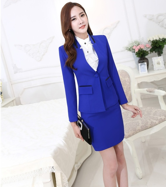 New Formal Uniform Styles Ladies Office 2015 Autumn Winter Professional Business Work Wear Suits Blazer And Skirt Career Blazers