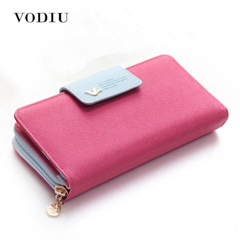 Large Capacity Women Long Slim Wallet Female Coin Purse Leather Zipper Clutch Lady Handbag Phone Card Photo Holder Wristlet