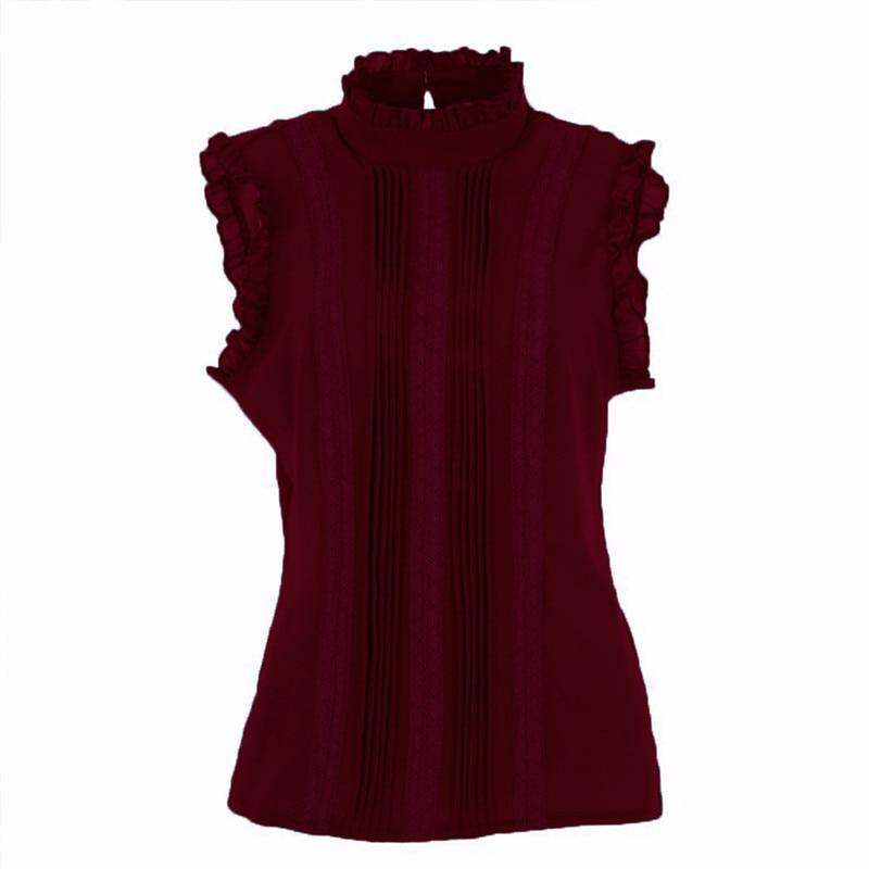 2017 Fashion Retro Style Women Reffle   Shirt   Chiffon   Blouse   Office Lady Casual Summer Top   Blouse     Shirts
