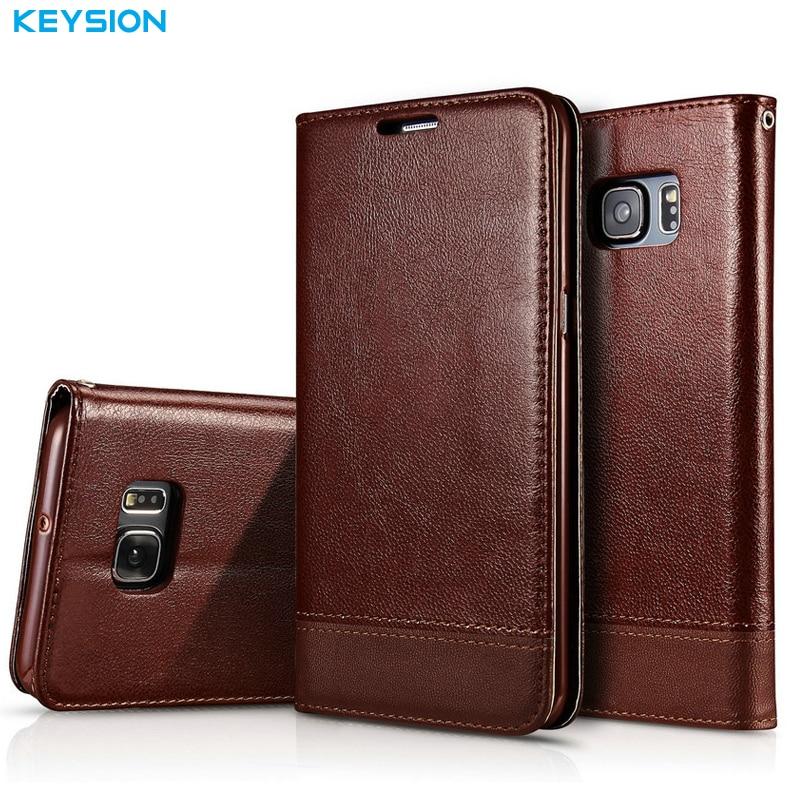 KEYSION Flip Cas pour Samsung Galaxy S7 S7 Bord PU En Cuir de luxe Wallet Card Slots Tpu Béquille Couverture Arrière pour G930 G935