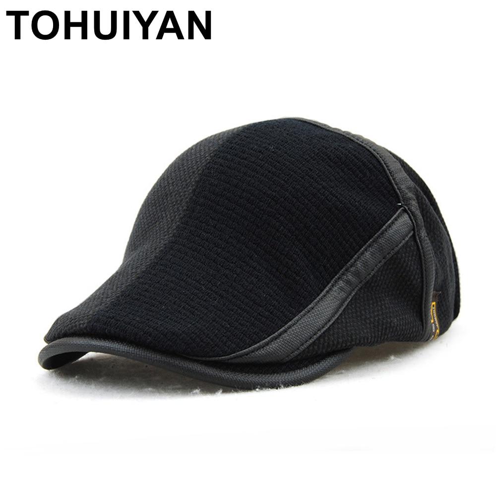 53c368b0cdc TOHUIYAN Winter Elderly Men Hat Newsboy Cap Flat Beret Cap For Male Thick  Wool Beret Peaked Hats Boina Vintage Plaid Warm Bonnet