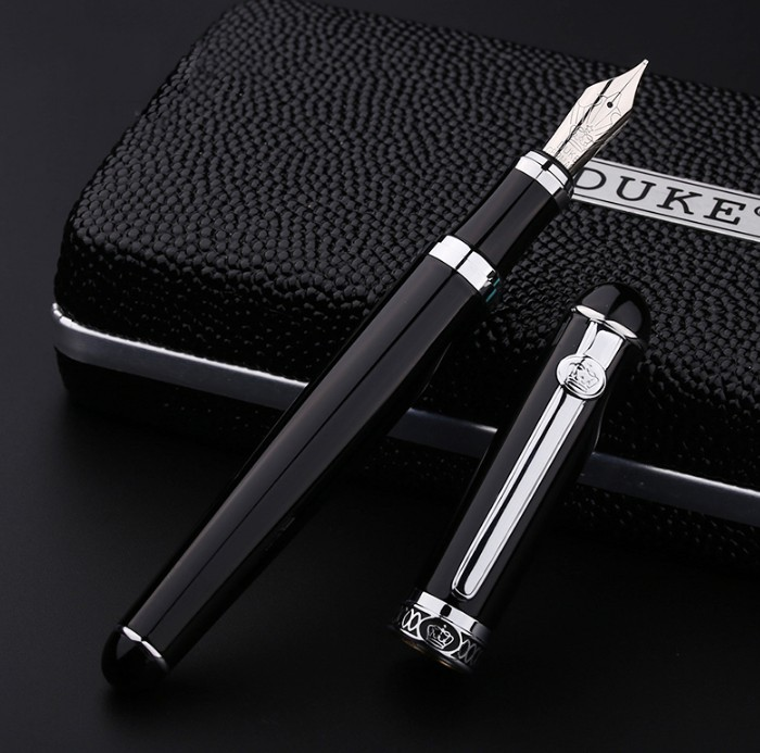 все цены на Luxury Black Silver or Gold Clip Fountain Pen DUKE D2 Iraurita Nib Ink Pens with an Original Gift Box School Office Supplies
