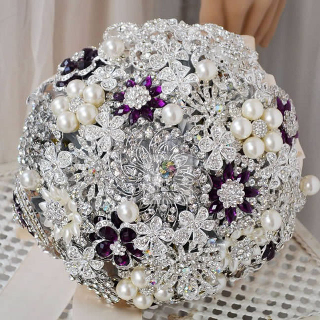 2016 New Style Bridal Hydrangea Artificial Silk Rose Flower Jewelry Brooch Broach Bride Wedding Bouquet FW194
