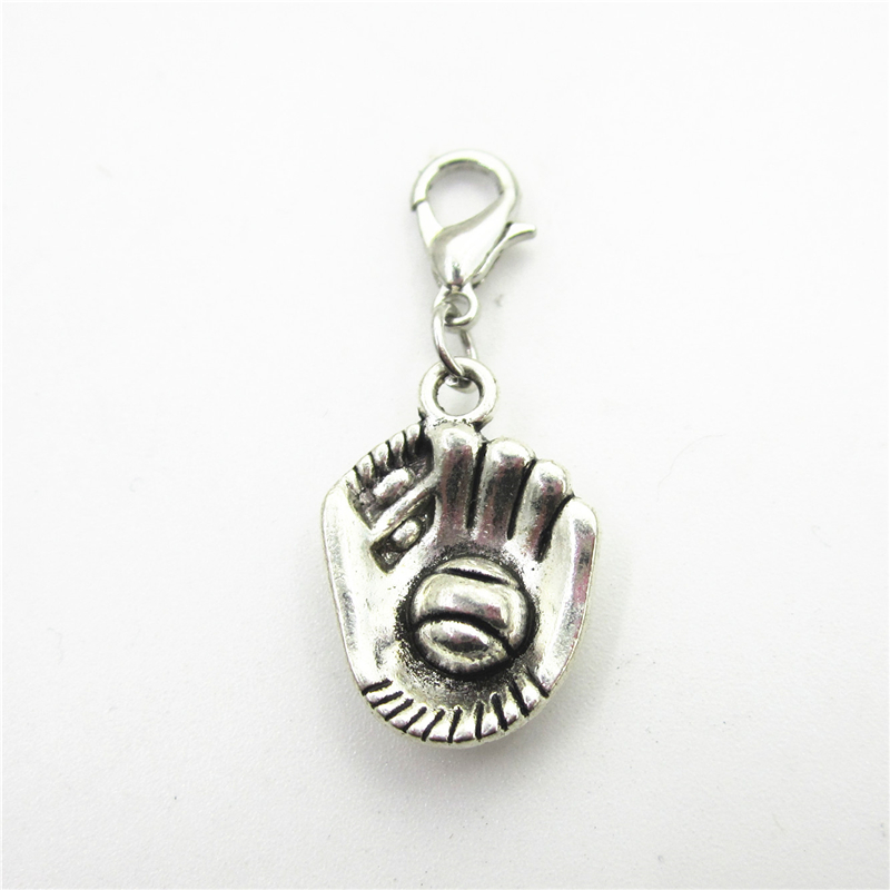 GraceAngie 12PCS Mixed Vintage Silver Baseball Mitten Charms Pendant for Jewelry Making