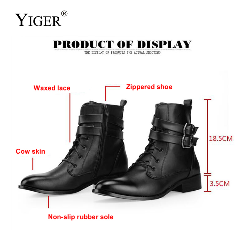 YIGER New Man Motorcycle Boots winter with fur Warm Man Leather boots Men Fashion Martin boots Black boots Comfortable 137 motorcycle man