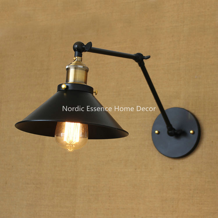 ФОТО Nordic American country pastoral style minimalist matte black bedside aisle warehouse hotel bar long arm wall lamp free shipping