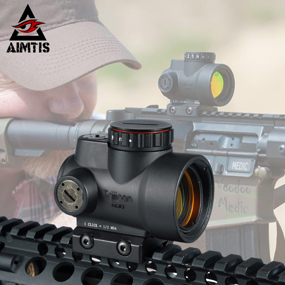 AIMTIS Best Trijicon MRO Red Dot Sight 2 MOA AR Tactical Optic Hunting Scopes With Low and Ultra High QD Mount fit 20mm Rail 2016 triji mro style red dot sight holographic sight for airsoft black low mount qd mount with plastic gift box