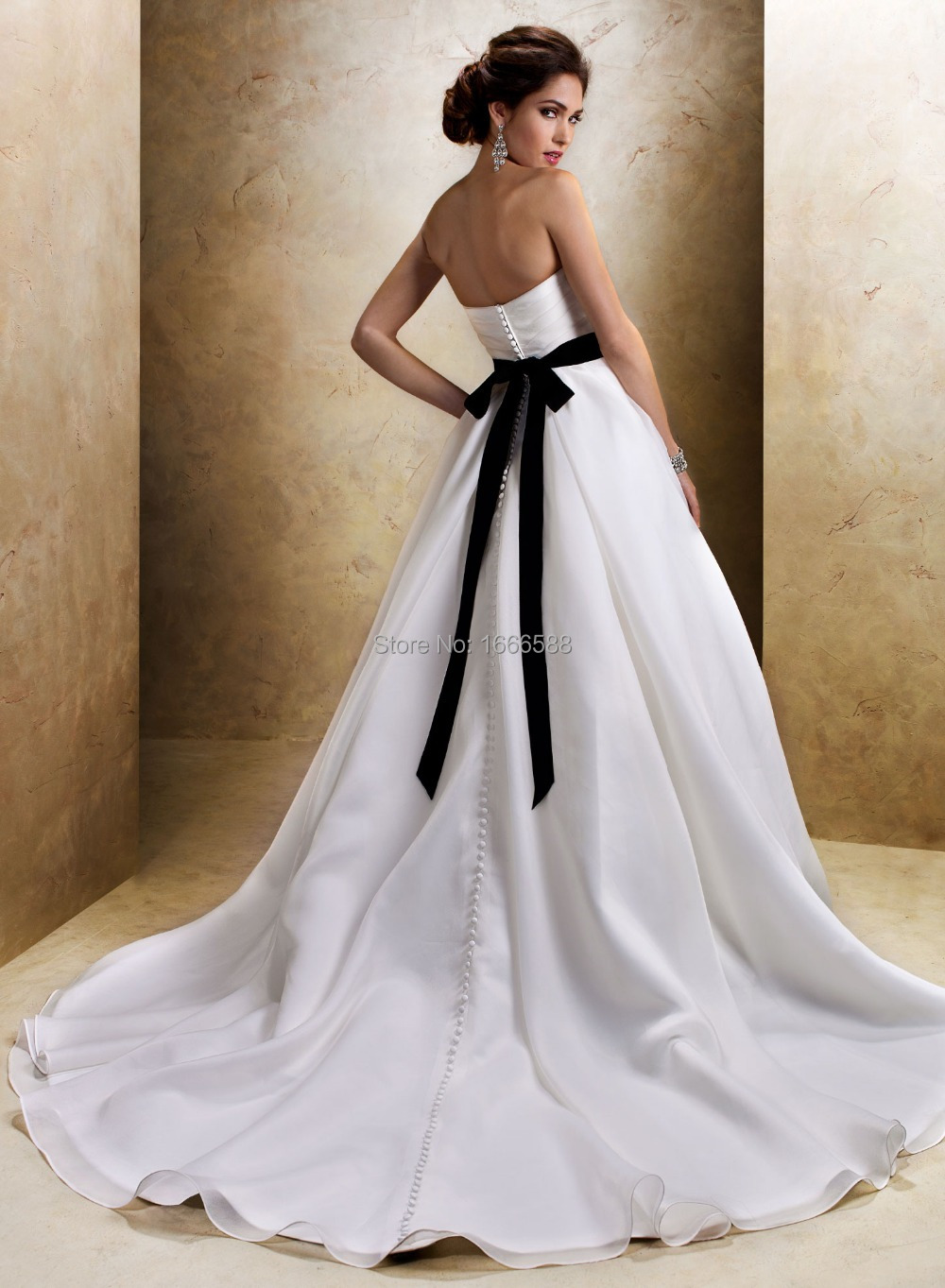 White wedding dress with black sash