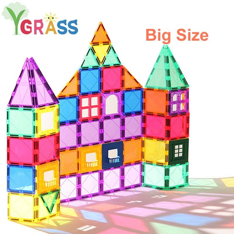 Magnetic Blocks Toys Children's Magnets Square Building Games Designer Constructor Tiles Bricks Model Educational Toys For Kids