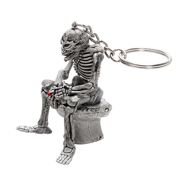 Car Key Rings Toilet Skulls Keychain Cool Purse Bag Decor Key Chain Rubber Mini Auto Keyfob Car Styling Interior Accessories