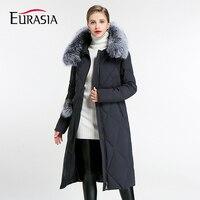 Евразии 2017 Новая Коллекция Полный толстый слой Для женщин зимние Куртки натуральной меховой воротник с капюшоном Дизайн биологического пу