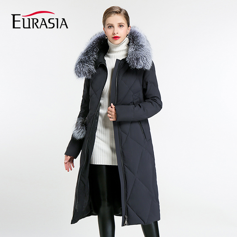 Eurasia 2018 New Collection Full Thick Coat Women Winter Jackets Real Fur Collar Hooded Design Biological-down   Parka   Y170012