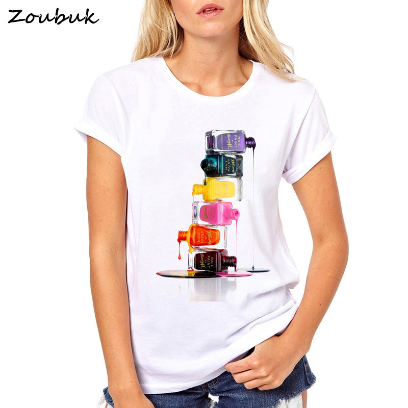 Vogue Casual T shirt Women Perfume Lipstick Nail Polish Tops Summer T-Shirt Woman Tshirt white Tee Shirt Femme Camiseta Feminina