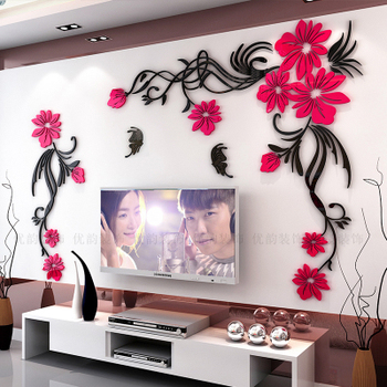 Creative flower 3D stereo acrylic wall sticker background warm decoration Large Size Mural Home Decor Living Room Wall Decals 17