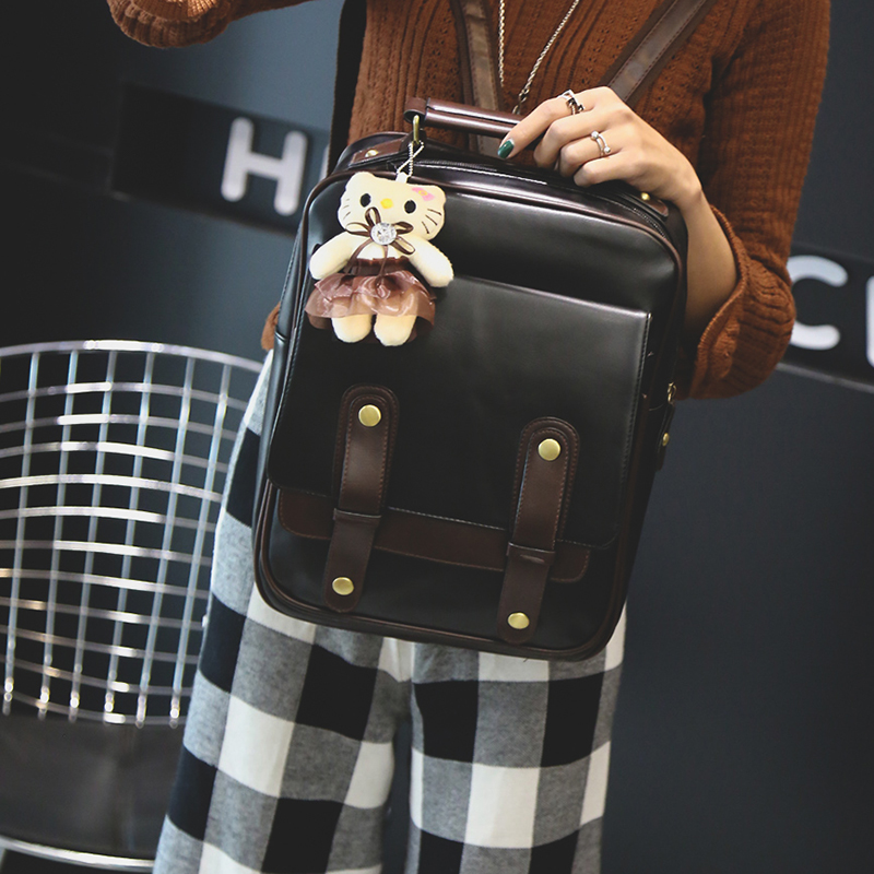 universitário mochila couro mochilas escolares estudante do vintage retro