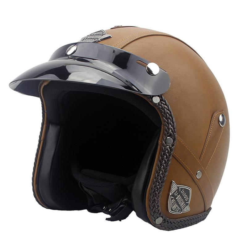 New Motorcycle Helmet Retro Vintage Synthetic Leather Casco Moto Cruiser Chopper Scooter Cafe Racer 3/4 Open Face Helmet DOT new leather motorcycle helmet retro vintage steampunk cruiser chopper scooter cafe racer moto helmet 3 4 open face helmet dot