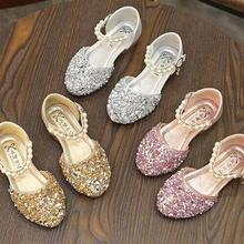 Новинка; сезон весна-лето; босоножки с блестками для девочек; обувь со стразами для девочек; обувь для шоу; блестящие танцевальные туфли