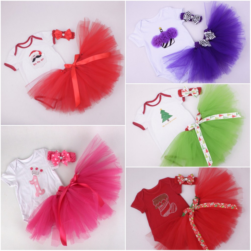 Christmas Baby Girl 3pcs Clothing Sets Infant Cotton Romper+Tulle Skirt+Headband Party Bebe Children Birthday Costumes Vestidos newborn baby girl dresses 3pcs clothing sets suit infant romper jumpersuit bebe party wedding costumes vestidos