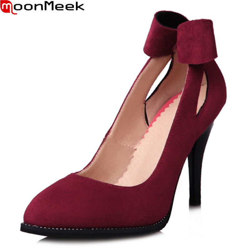 MoonMeek female fashion pumps pointed toe thin heels slip on shallow with butterfly knot extreme high heels sweet woman shoes 2017 spring women retro pumps solid slip on sweet butterfly knot round toe med square thick heels shallow female shoes plus size