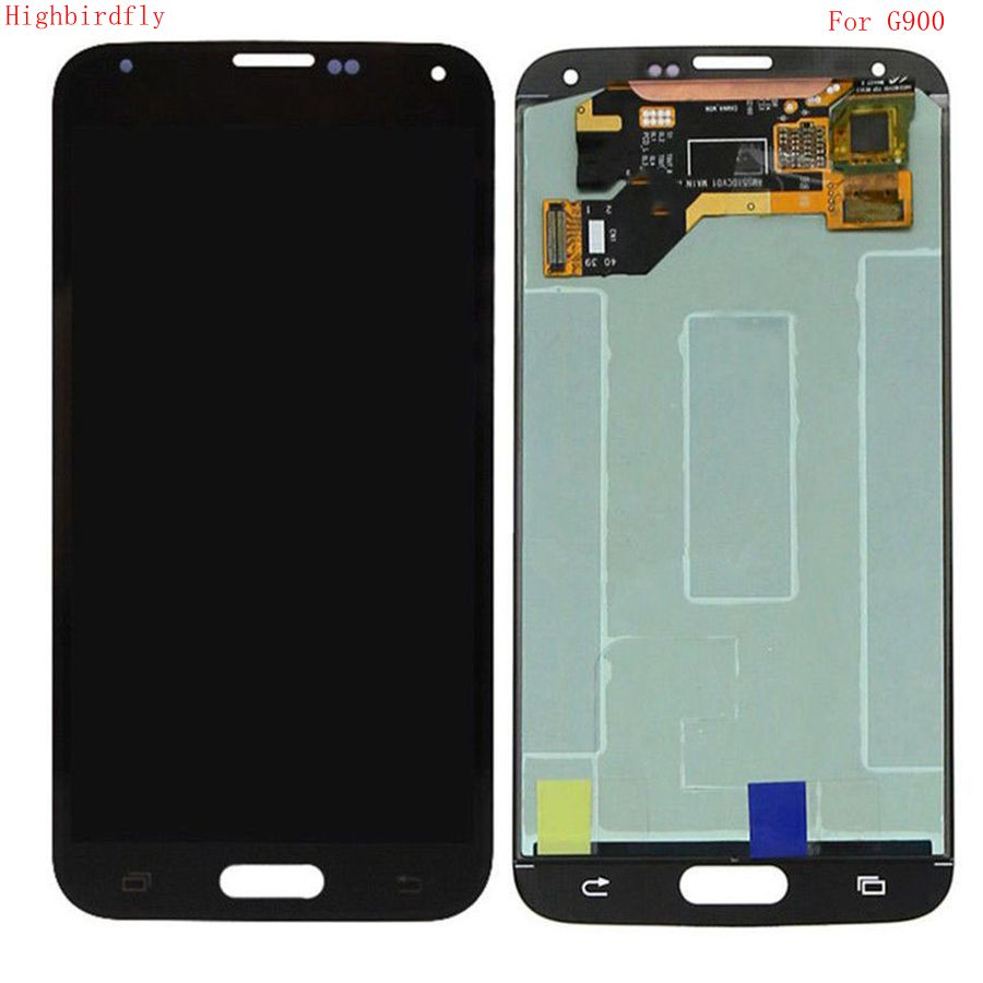 Highbirdfly For Samsung Galaxy S5 G900 G900F SM-G900 G900M <font><b>G900H</b></font> Lcd Screen+<font><b>display</b></font>+Touch Glass Assembly Replacement Amoled image