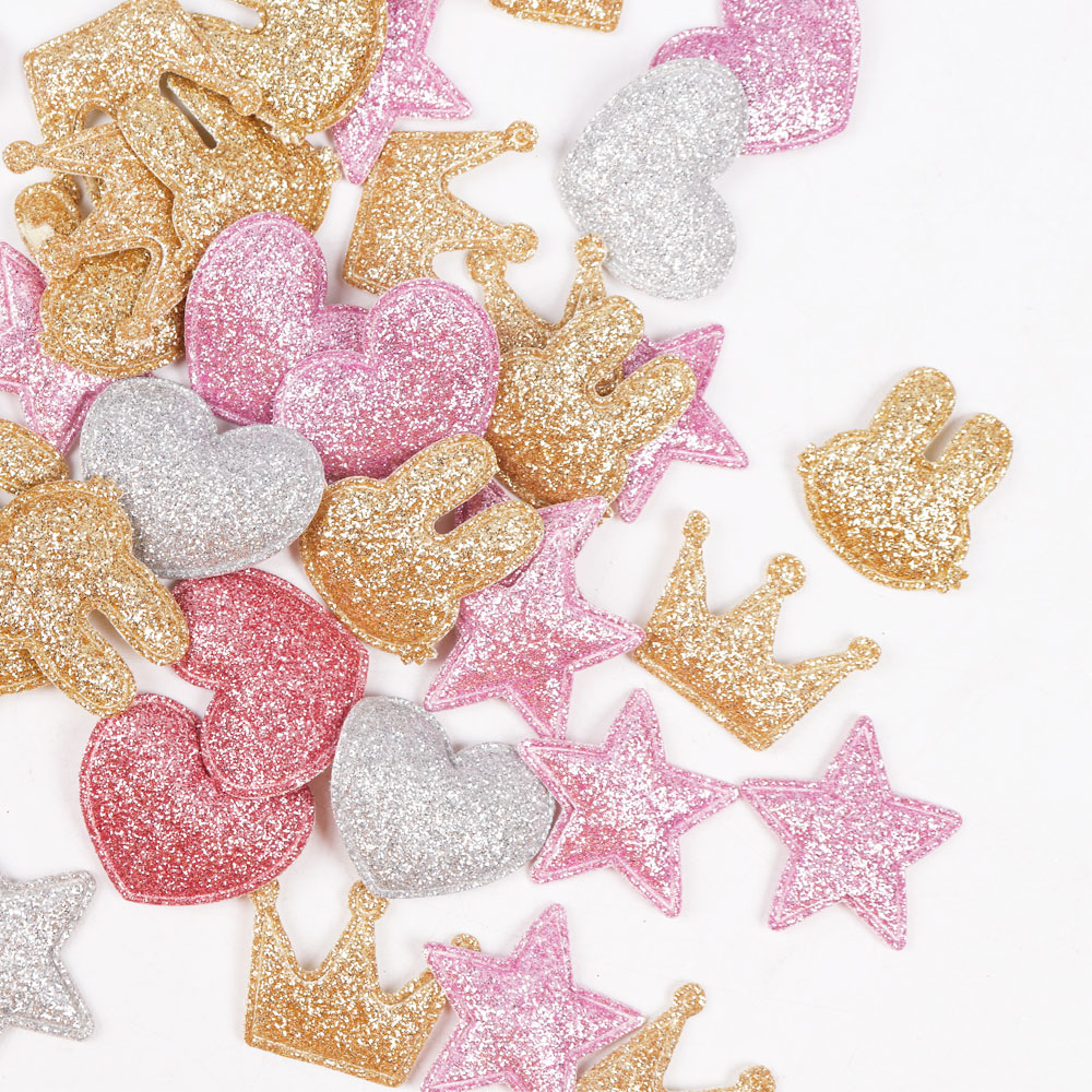100pcs/bag Glitter Patches Crown Rabbit Heart Pattern Cute Patch Apparel Sewing Material Patches For Clothing Garment Decorative