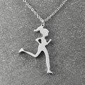 Runner Jewelry , Runner Necklace , jogging girl , Running Girl pendant  , Jogger Necklace , Sports Necklace ,  Christmas Gift