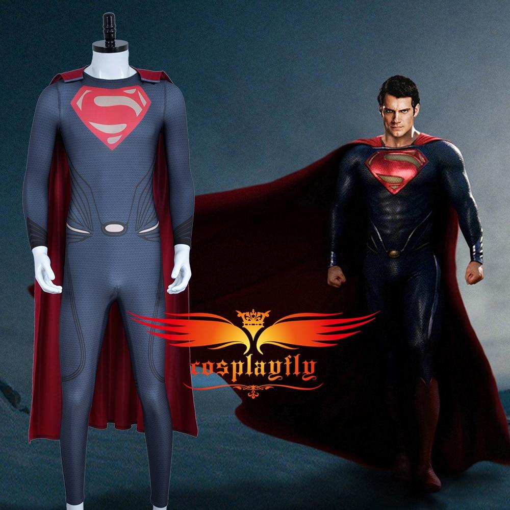 DC Comics Superhero Superman Man of Steel Clark Kent Kal-El Super Man Spandex Jumpsuit XS-XL Men Red Cloak Cosplay Costume