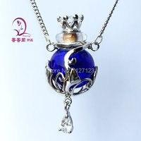 Freies verschiffen! ! 1 stücke Murano blau Glas Ätherisches Öl Flasche Anhänger Halskette Parfümflasche Halskette, Aroma diffuser halskette