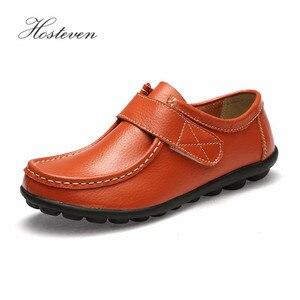 Image 3 - Hosteven النساء حذاء رياضة الشقق جلد طبيعي عارضة المتسكعون الأحذية كعب منخفض الأخفاف الأحذية الصلبة كبيرة الحجم