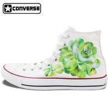Succulent Plants Original Design Custom Converse Chuck Taylor Hand Painted Shoes Man Woman White Sneakers Women Men