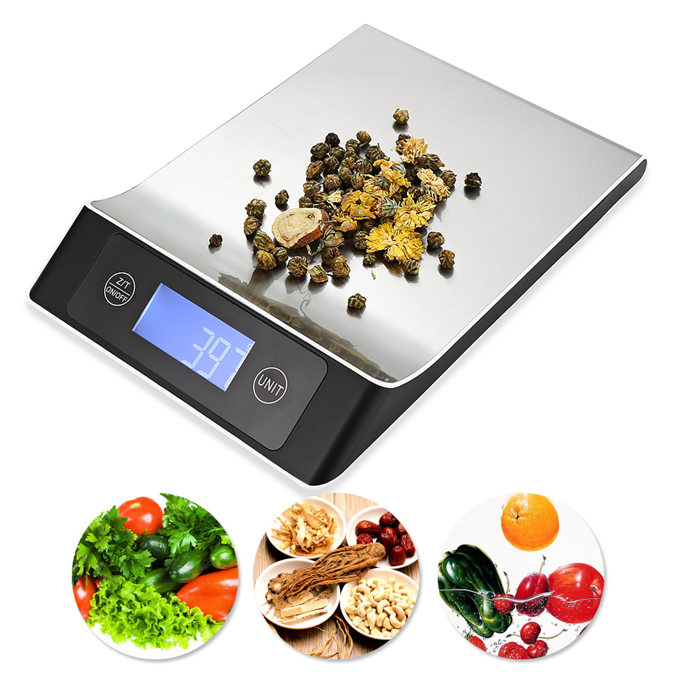Acero inoxidable 15 kg/1g balanza portátil balanza de cocina Digital con LCD Postal electrónica hornear plataforma dieta peso
