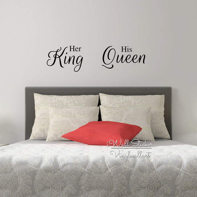 Her King His Queen Quote Wall Sticker Love Quote Wall Decal Bedroom Wall  Quotes Easy Wall Part 44