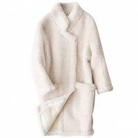 Elegant Luxury Brand Womens Real Fur Coat 2018 Autumn Winter New Lamb Fur Coats Female Korean Long Sleeve Warm Shearling Jackets