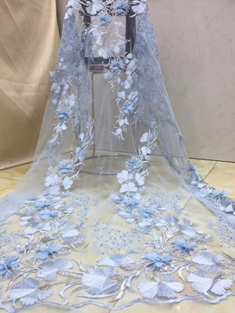 african tulle lace fabric high quality rhinestones lace fabric light blue 3D Embroiery tulle mesh lace for bridal lace X3