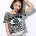 2016 Sexy Korean Style Sequins Autumn Fashion Casual Loose Big Eyes Baby Dance T Shirt Bar Short Design Women Hip Hop
