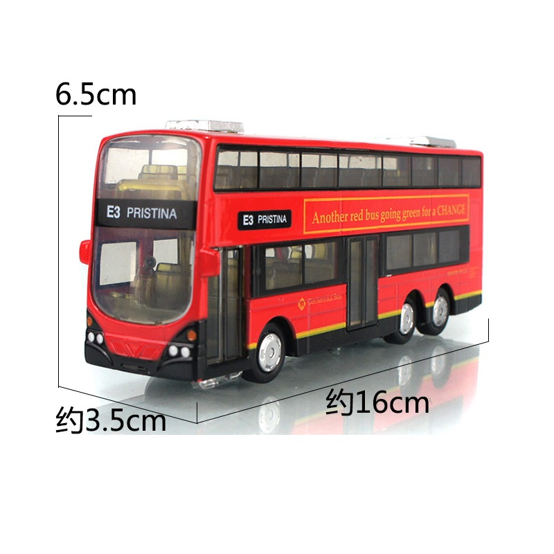 Alloy Double Decker Bus 16Cm 2-Floor Design Hongkong City Bus Old-Fashion With Light & Music Open Front Door