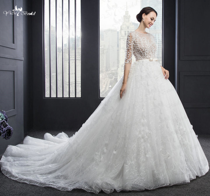 robe de mariee manche longue Long Sleeve Lace Applique Champagne ...