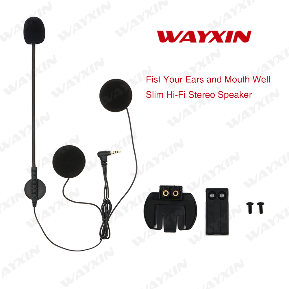 WAYXIN R6 intercom Headset & Clip Set Accessories for wayxin R6 Bluetooth Helmet Interphone Intercom Headphone Jack Plug