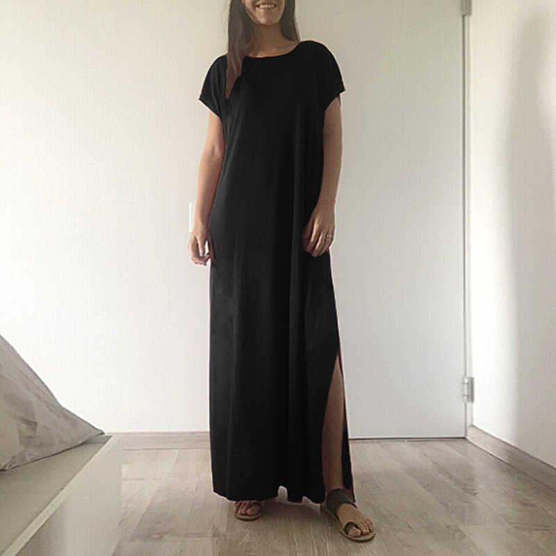 55ea450b2c2 Detail Feedback Questions about 3XL 4XL 5XL Plus Size Summer Dress 2019  Women Casual Loose Long Maxi Dress Solid Split Short Sleeve Slit Long gowns  robe ...