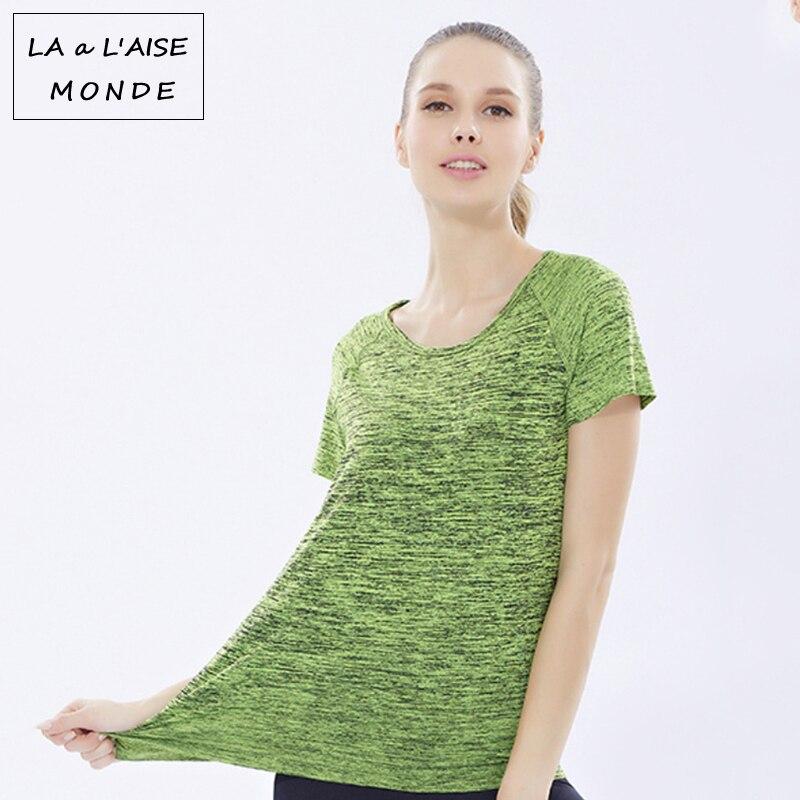 Women Yoga Shirt For font b Fitness b font Running Sports T Shirt Short Sleeve Tee