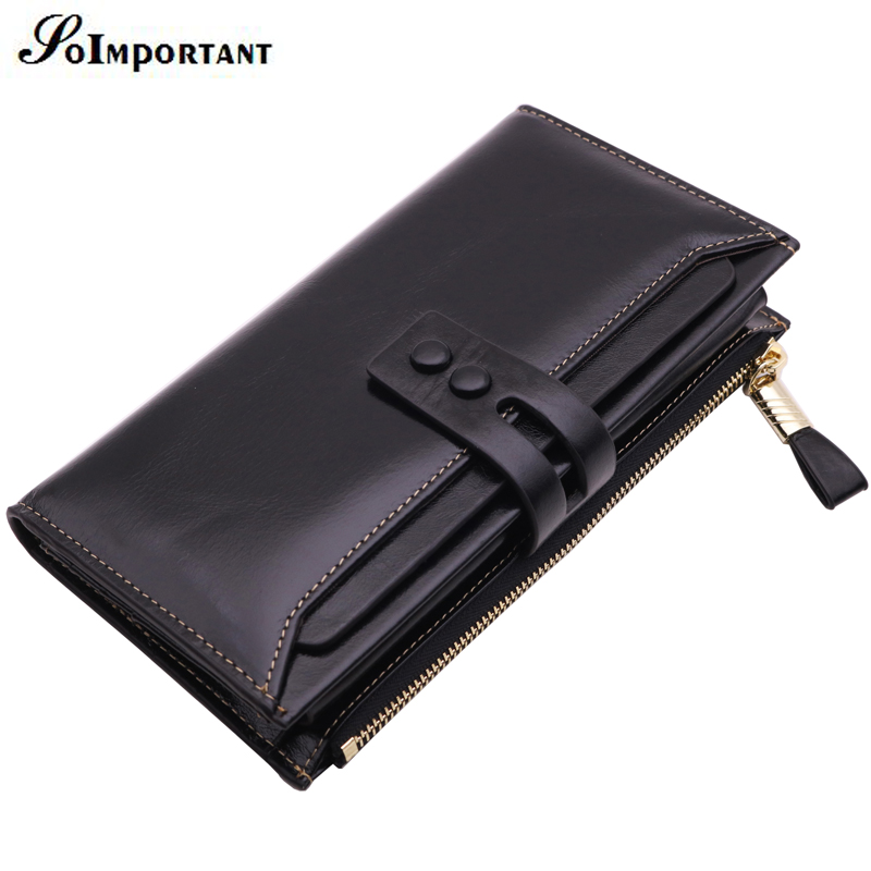 Genuine Leather Long Wallet Male Oil Wax Leather Men Wallets Luxury Brand Zipper Clutch Walet Multi Card Holder Coin Purse Magic