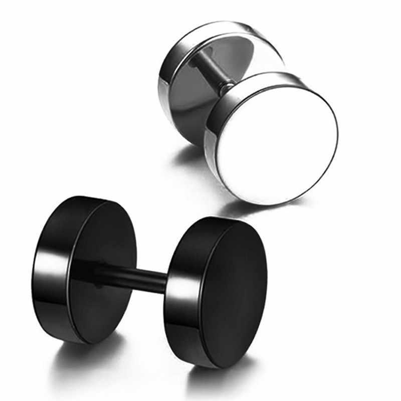 Vòng tai đính đá người đàn ông Đen kolczyki Punk Earings trang sức thời trang pendientes Hombre người phụ nữ ngôi sao Ngăn Ngừa dị ứng Barbell 1 PC