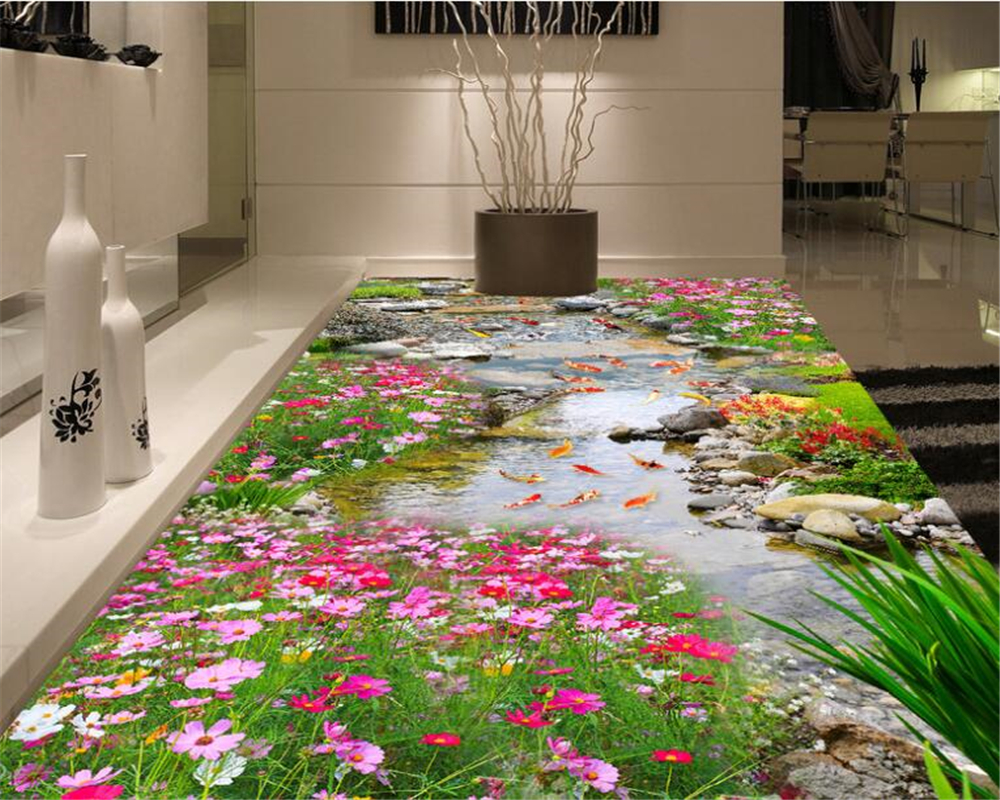 Beibehang 3d Flooring Advanced Home Decoration Painting Wallpaper Park River Water Three