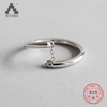 Genuine 100% 925 Sterling Silver Female Adjustable Chain Finger Rings for Women Jewelry