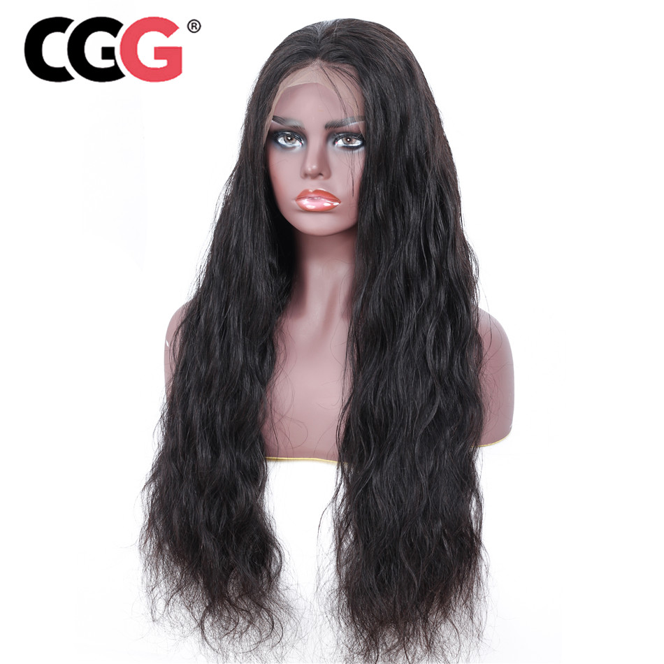 Wig Human-Hair-Wigs Lace-Frontal Body-Wave CGG Peruvian Black Women 130%Density for Remy