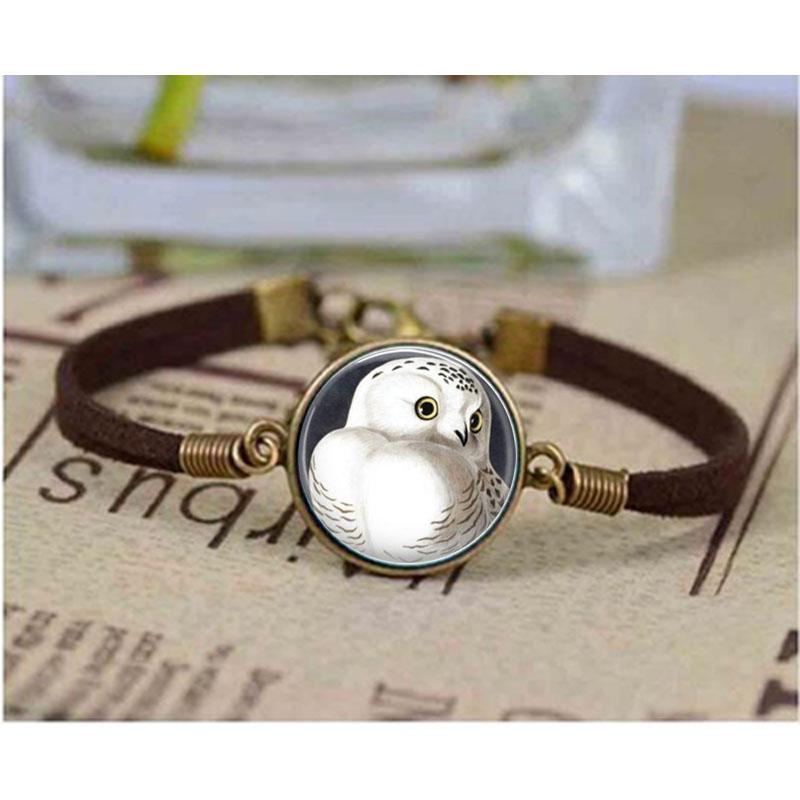 Owl Jewelry Owl bracelet Owl Glass bracelets Snowy Owl Round Glass Dome Cabochon Birthday Gift for Women or For Him