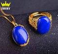 Естественный Голубой лазурит драгоценный камень Комплект Ювелирных Изделий Женщины Ожерелье С Цепи Подлинная Твердых Стерлингового Серебра 925