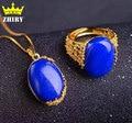 Natural Blue lapis lazuli gem Set Jóias Mulheres Pingente de Colar Com uma Corrente Genuine Sólido 925 Sterling Silver