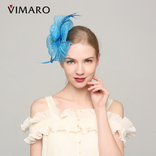 VIMARO Blue Sinamay Party Fascinator Party Hair Accessories For Women Hair Jewelry Hair Combs Gift Headpiece Mother's Day
