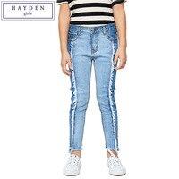 HAYDEN Big Teenage Girl Jeans Pants Teenagers Frayed Hem Skinny Jeans Juniors Denim Patchwork Pants Brand Kids Clothing Spring